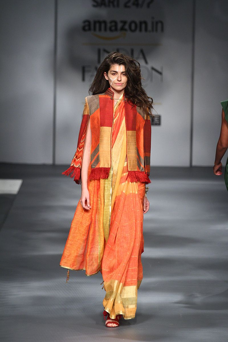 Saree for fashion show aifwawdssarirunway  wardrobe  pinterest  saree cat