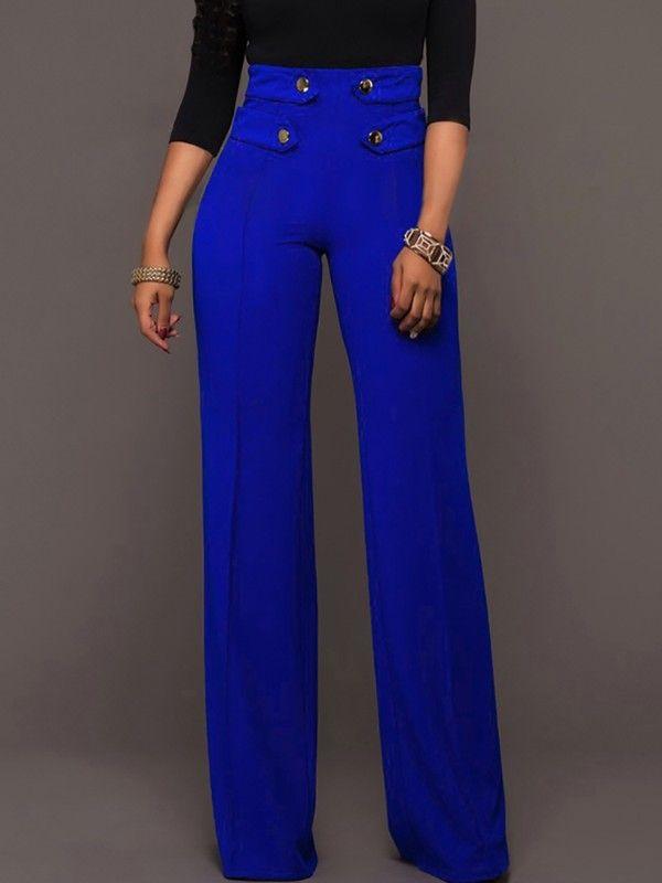 Photo of Elegante abotonado cintura alta pantalones anchos de pierna