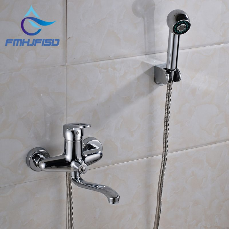 Fashionable Chrome Finish Bathroom Shower Faucet With Plastic Hand
