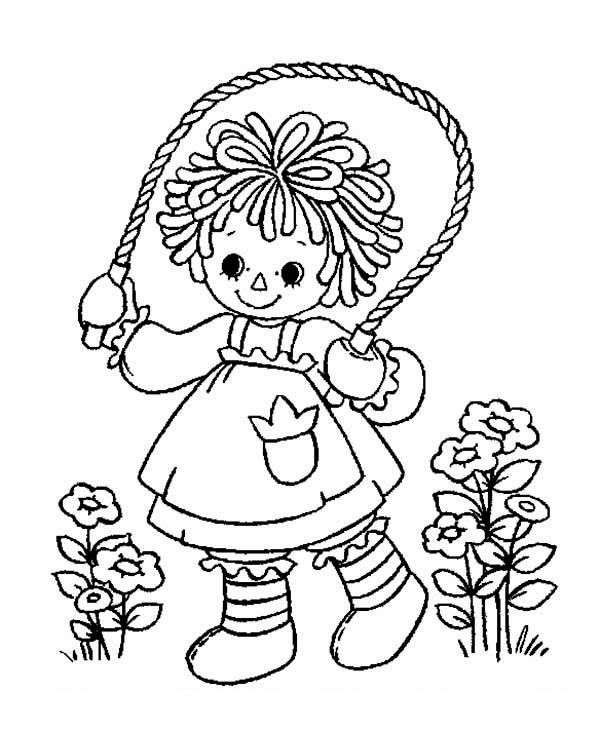 Raggedy Ann Coloring Pages | ... Andy Raggedy Ann Playing Rope in ...