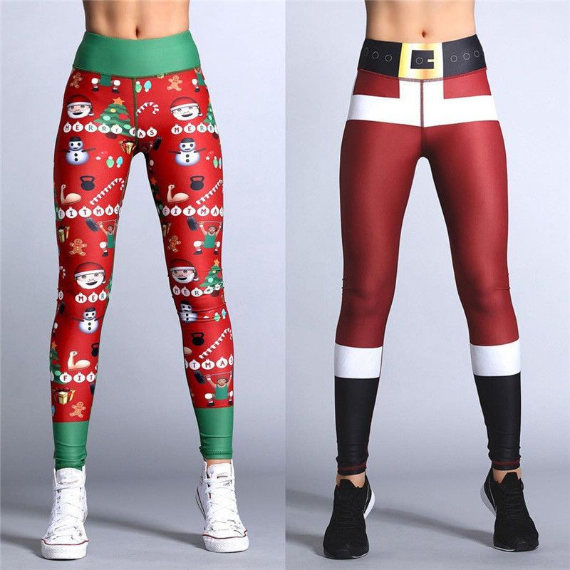 Christmas Xmas Women/'s 3D Yoga Gym Sport Leggings Fitness Pants Workout Trousers