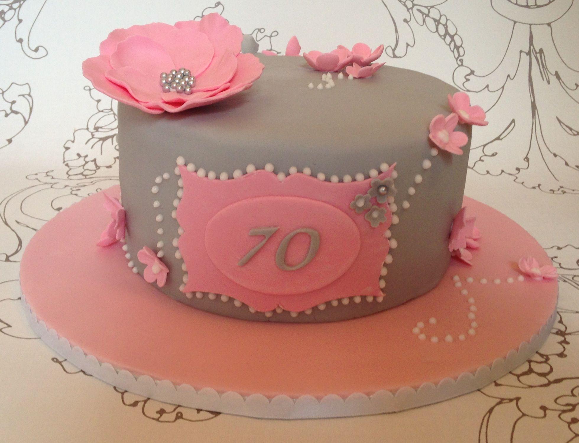 Pink Amp Grey 70th Birthday Cake Cake Designs Cake