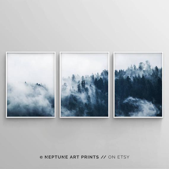 Set Of 3 Indigo Forest Printable, 3 Piece Forest Print
