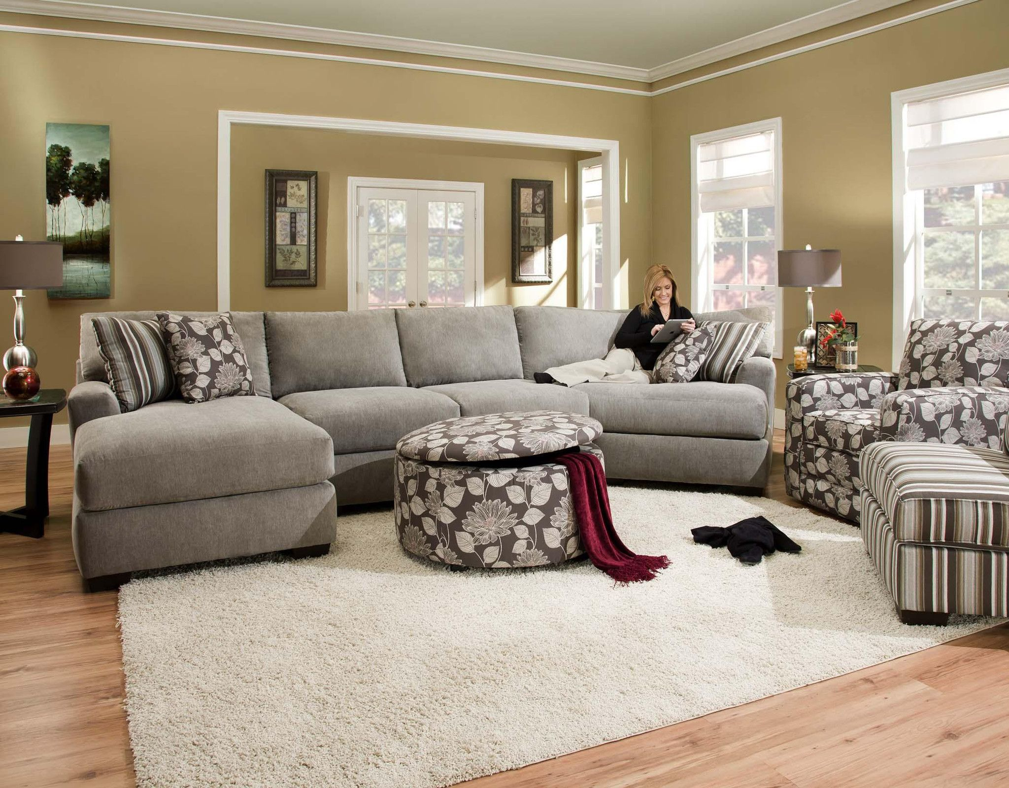 Large Ash Gray Sectional By Corinthian Furniture Sectional Sofa