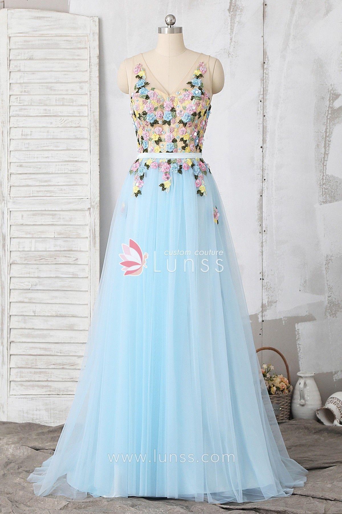 a28d7cba79 Baby Blue Beaded Embroidery Lace Tulle A-line Long Prom Dress in ...