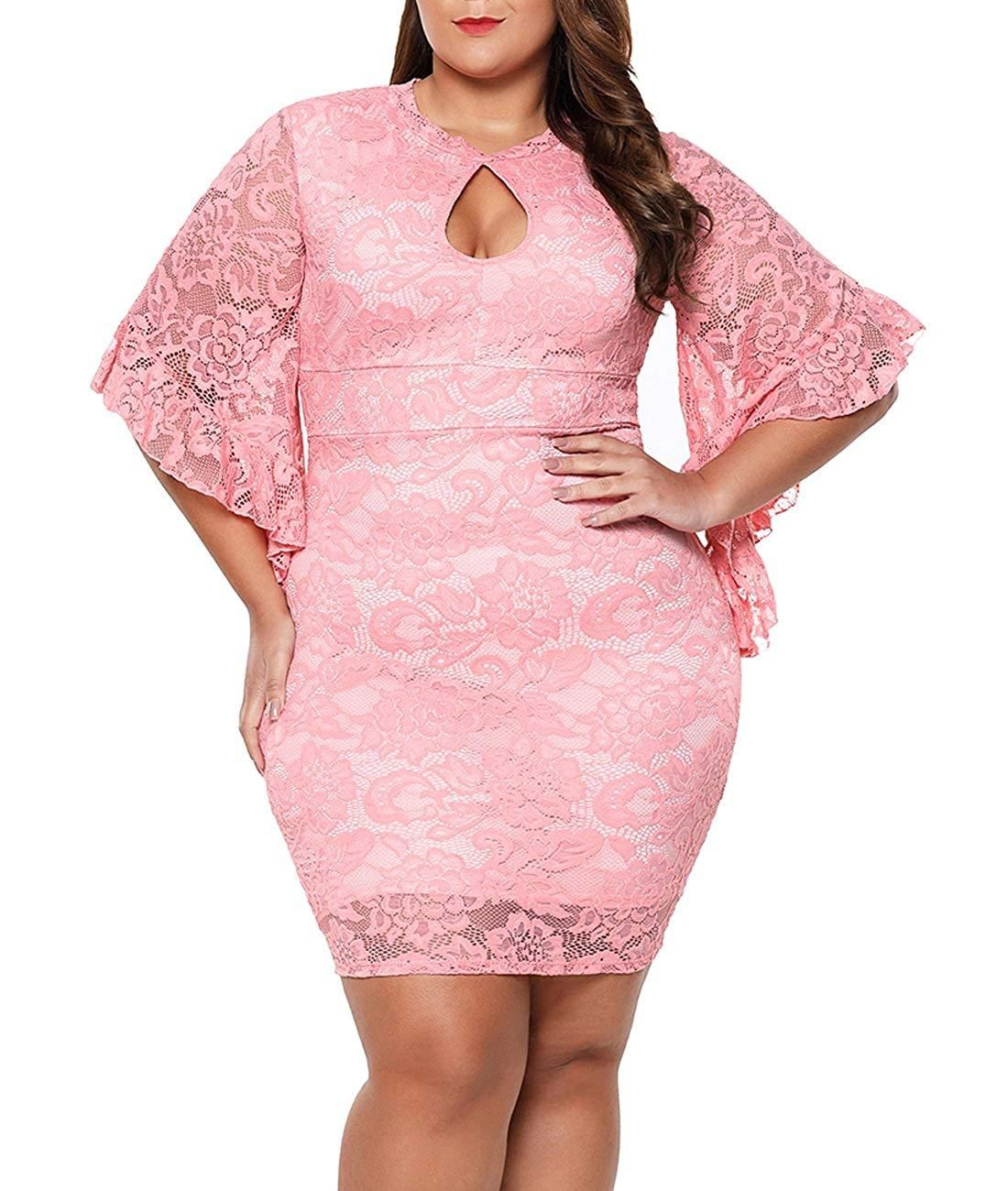 df5f2b45fb Lalagen Women Plus Size Lace Flare Bell Sleeves Bodycon Cocktail Party Dress