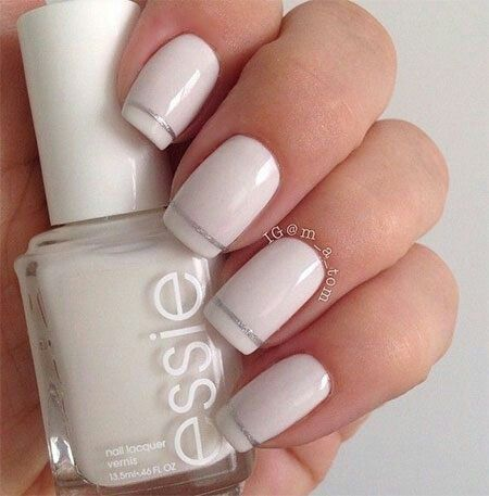 Simple, classy white mani with a single thin stripe of silver near the tips! - Pin By Tanya On Nails ✿ Pinterest Nail Nail And Manicure