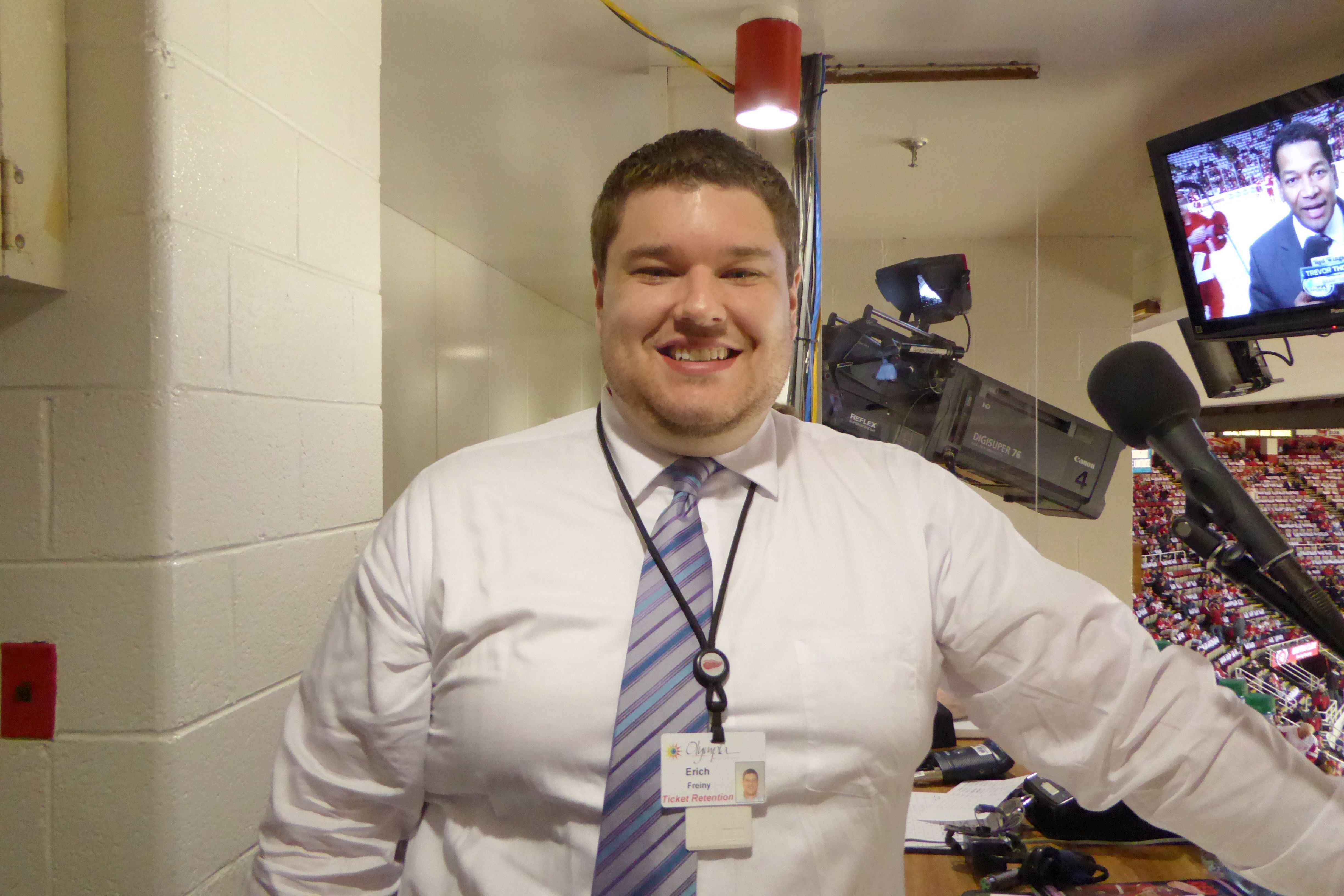 Erich Freiny Detroit Red Wings Public Address Announcer Ticket Service Rep Before Joining The Red Wings Erich Detroit Red Wings Cleveland Indians Red Wings