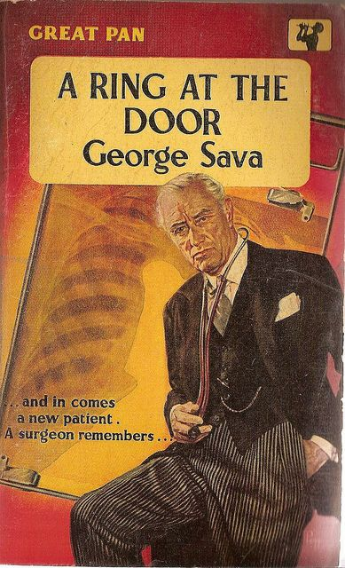 George Sava: A ring at the door. #Pan Books 1958. Cover art by Sam Peffer