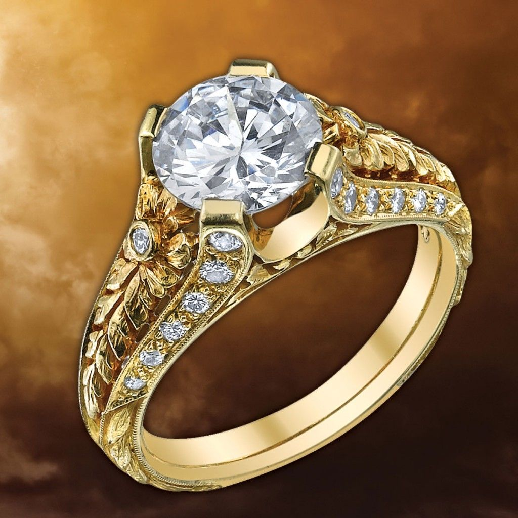 Van Craeynest special occasion or engagement 18k yellow gold and diamond ring. The piece is hand made using Victorian equipment and methods. $8,230. Center diamond sold separately.