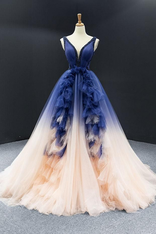 Blue Changing Color Ball Gown Formal Prom Dress RS