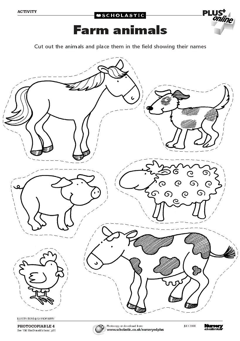 farm animals for coloring and cutting fichas para practicar