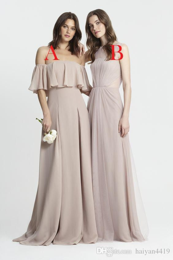 64a6dd0794f01 2017 New Long Bridesmaid Dresses Off Shoulder Wedding Guest Wear Chiffon  Blush Pink Nude Party Dress Plus Size Backless Maid of Honor Gowns 2017  Bridesmaids ...