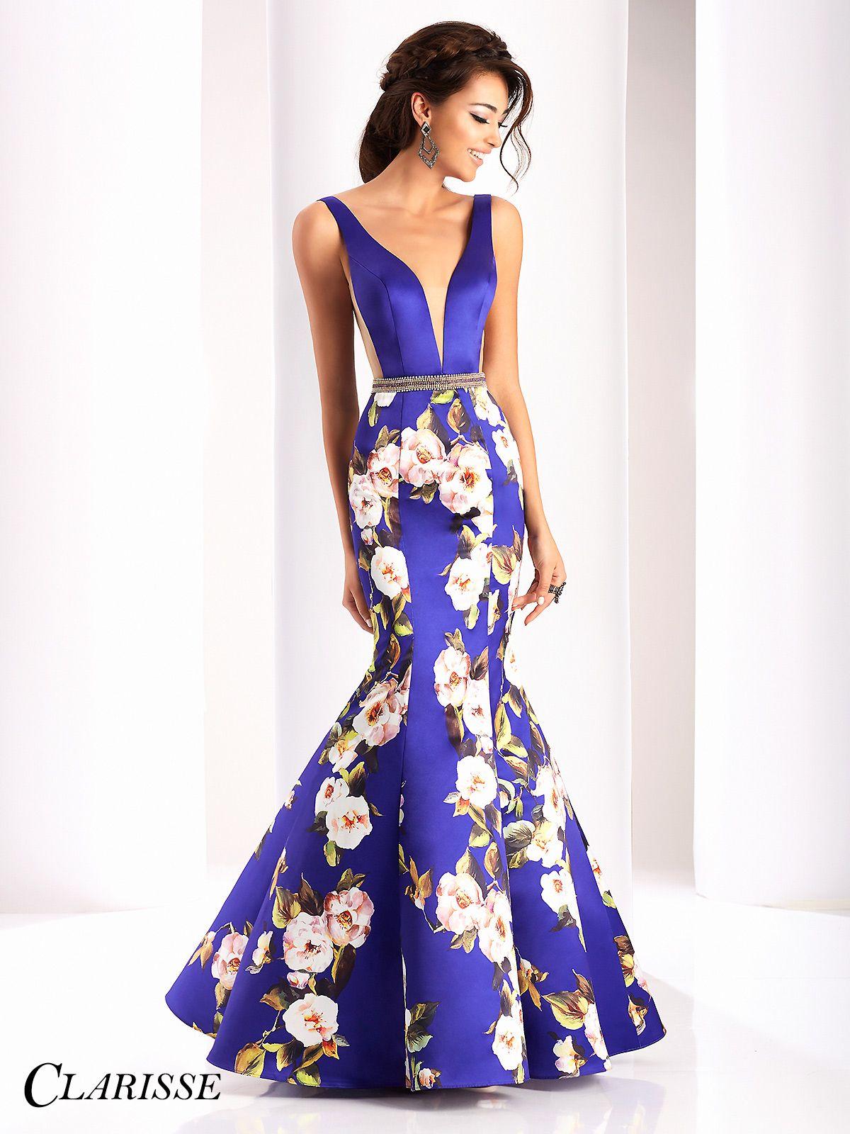 Clarisse Purple Floral Mermaid Prom Dress 4813
