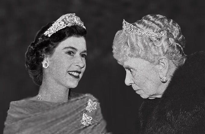 H M Queen Elizabeth Ii And Her Grandmother H M Queen Mary C