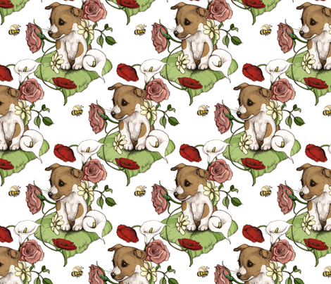 Puppy with flowers and bee on white fabric by micklyn on Spoonflower - custom fabric