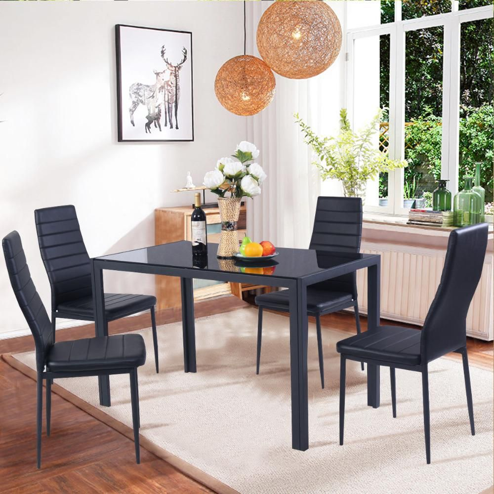 Goplus 9 Piece Kitchen Dining Set Glass Metal Table and 9 Chairs ...