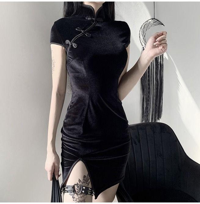 Women's Slit Cheongsam Velvet Sneath Dresses