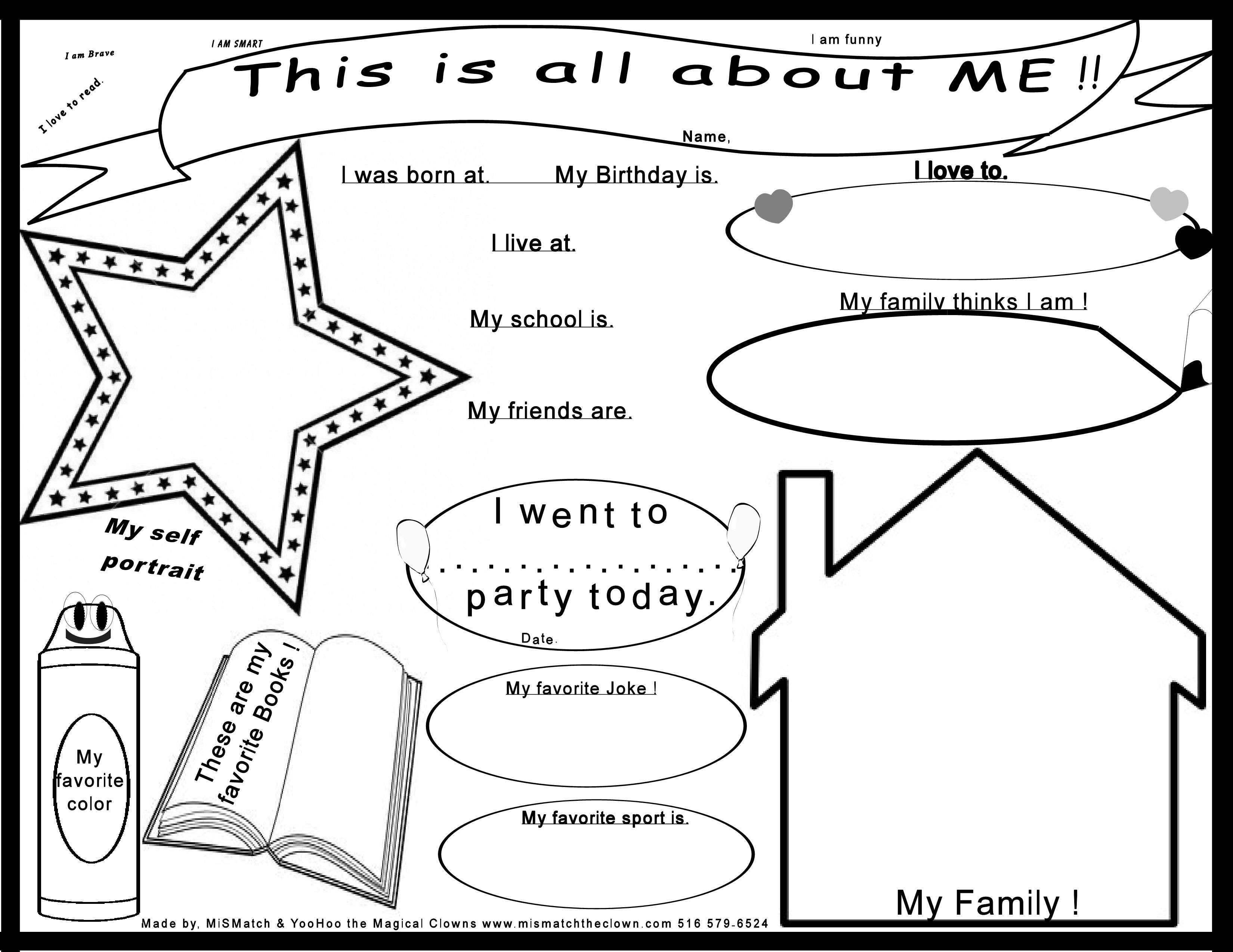 A New And Improved All About Me Worksheet J