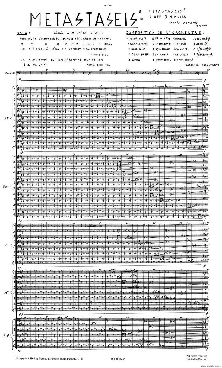 Iannis Xenakis | sheets,music | Experimental music, Music
