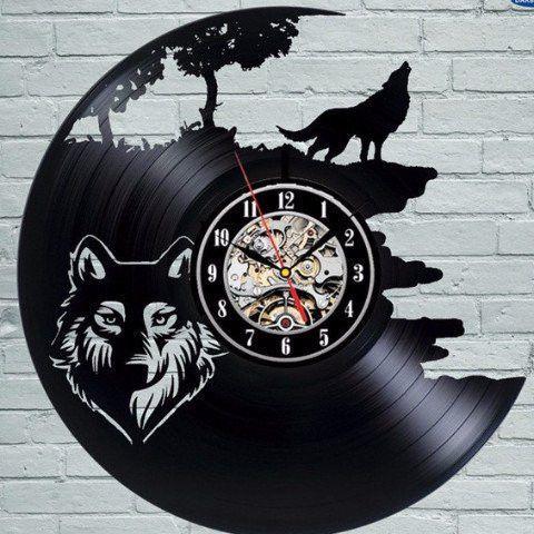 Wolf Vinyl Wall Clock Duvar Saati Duvar Saatleri Oymacilik