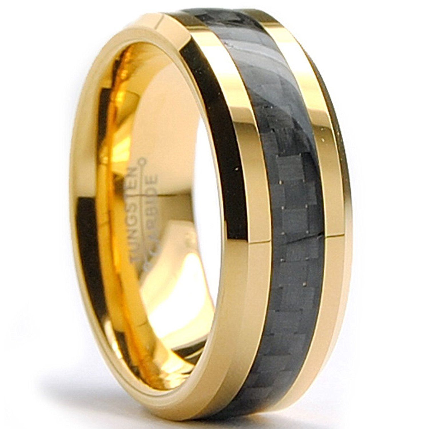 Ultimate Metals Co. 8MM Men's Gold Plated Tungsten Carbide