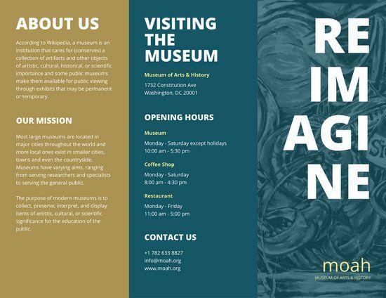 dark teal museum pamphlet tri fold brochure tri fold inspo