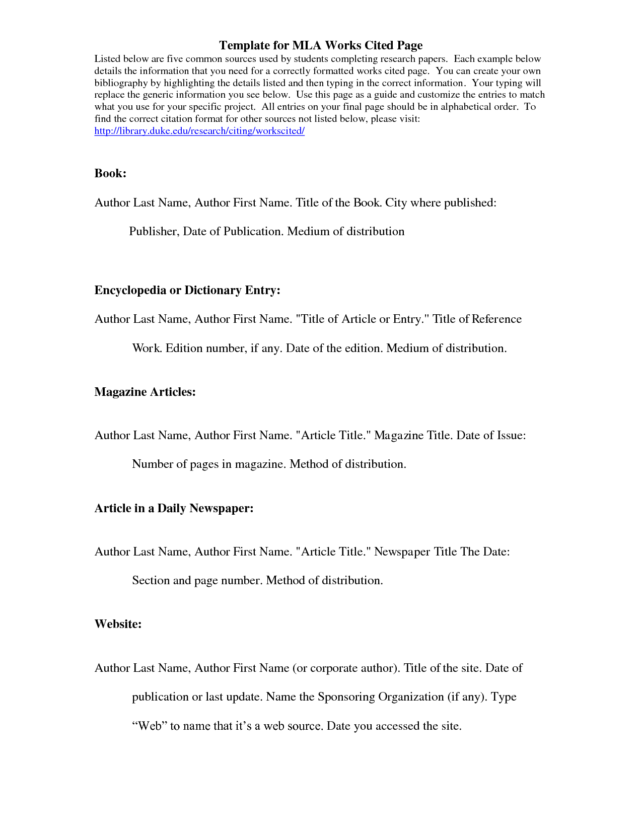 Mla Citation Template  Template For Mla Works Cited Page  School