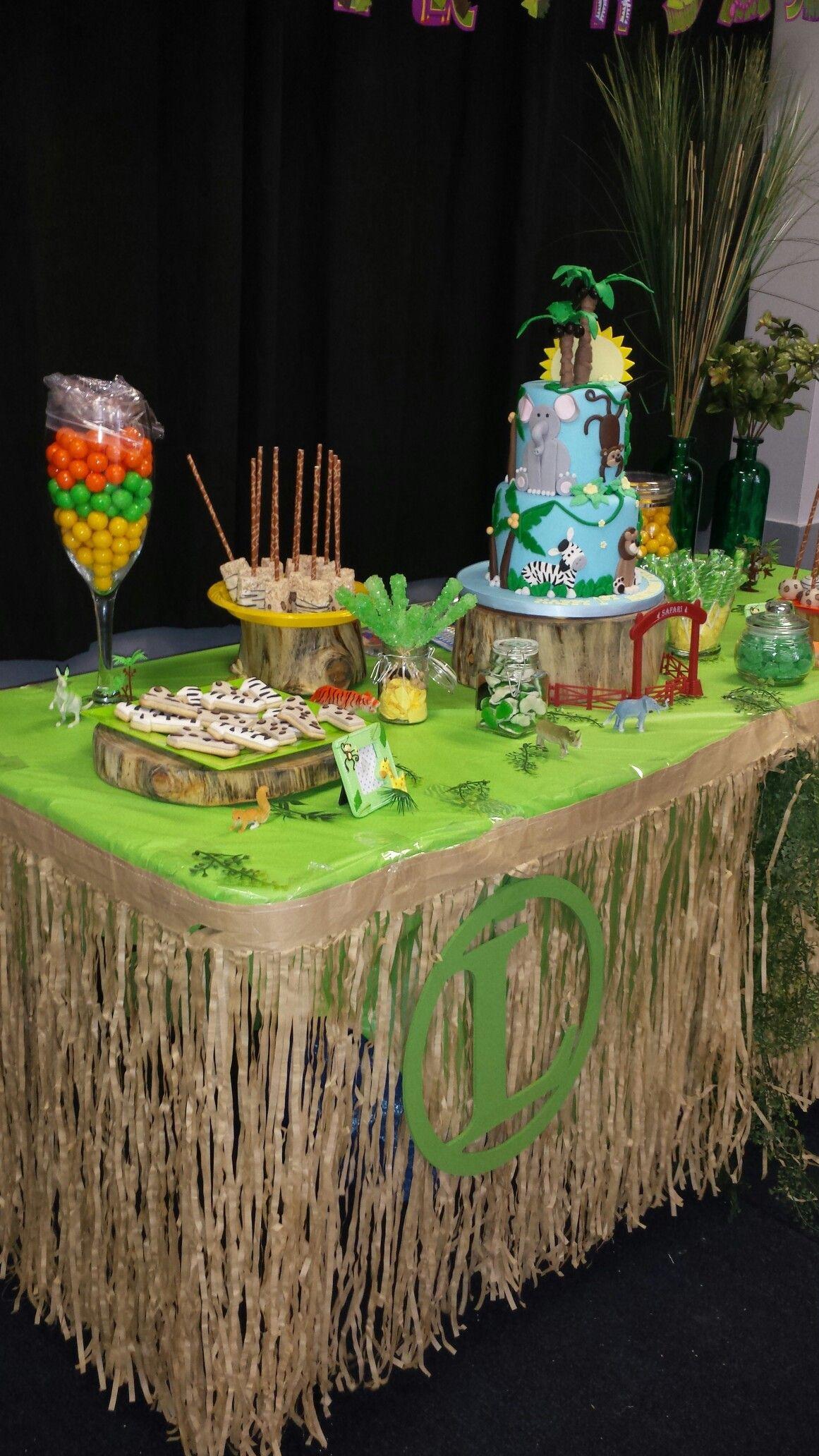 Safari Themed 1st Birthday Dessert Table Dessert Table Birthday Birthday Desserts Dessert Table