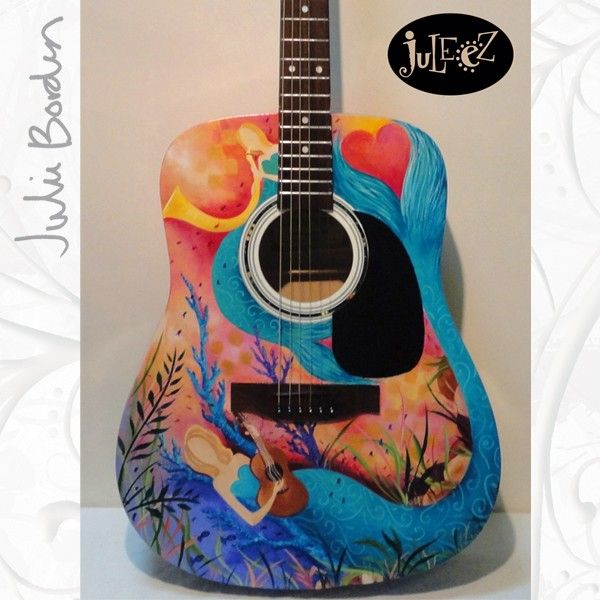 Mermaids Painted Acoustic Guitar by Julie Borden