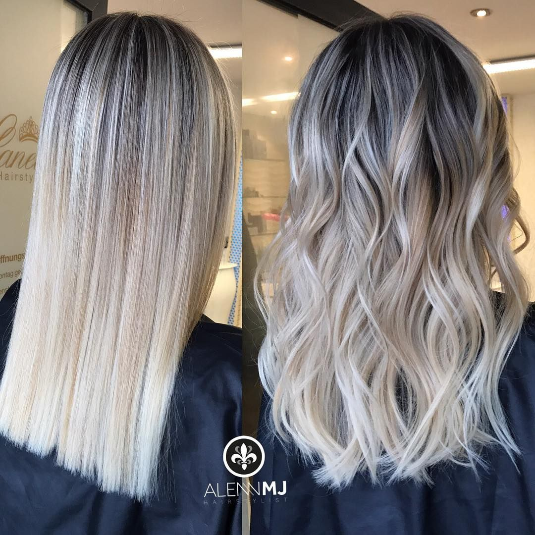 Straight Be Curly This Was Our First Session And I Can Say I M Happy With This Results No Toni Balayage Straight Hair Silver Blonde Hair Balayage Hair