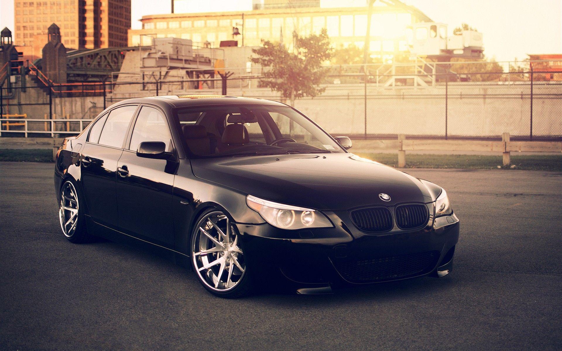 Black BMW M5 with big rims