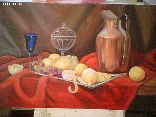 Solange Gama Coelho: Pintura em Tela,Tecido,Cursos-9196-6422(Claro),9854-3743(Tim)-Curitiba: Natureza Morta óleo sobre tela (40X60cm)