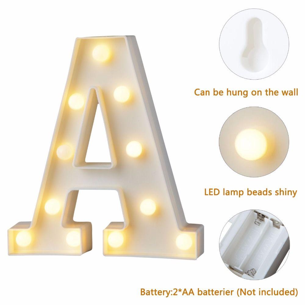 1pc Fun White Plastic Letter LED Night Light Marquee Sign Alphabet ...