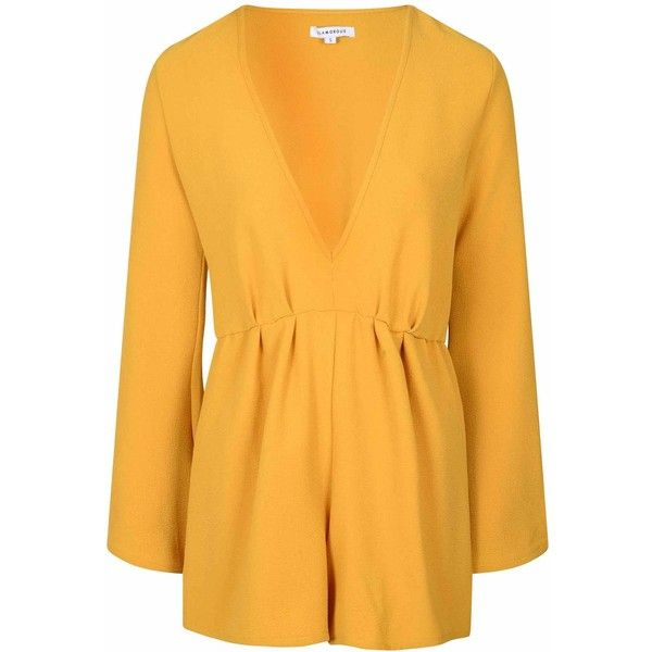 bf5fbdc1629e Mustard Long Sleeved V Neck Playsuit ( 46) ❤ liked on Polyvore featuring  jumpsuits