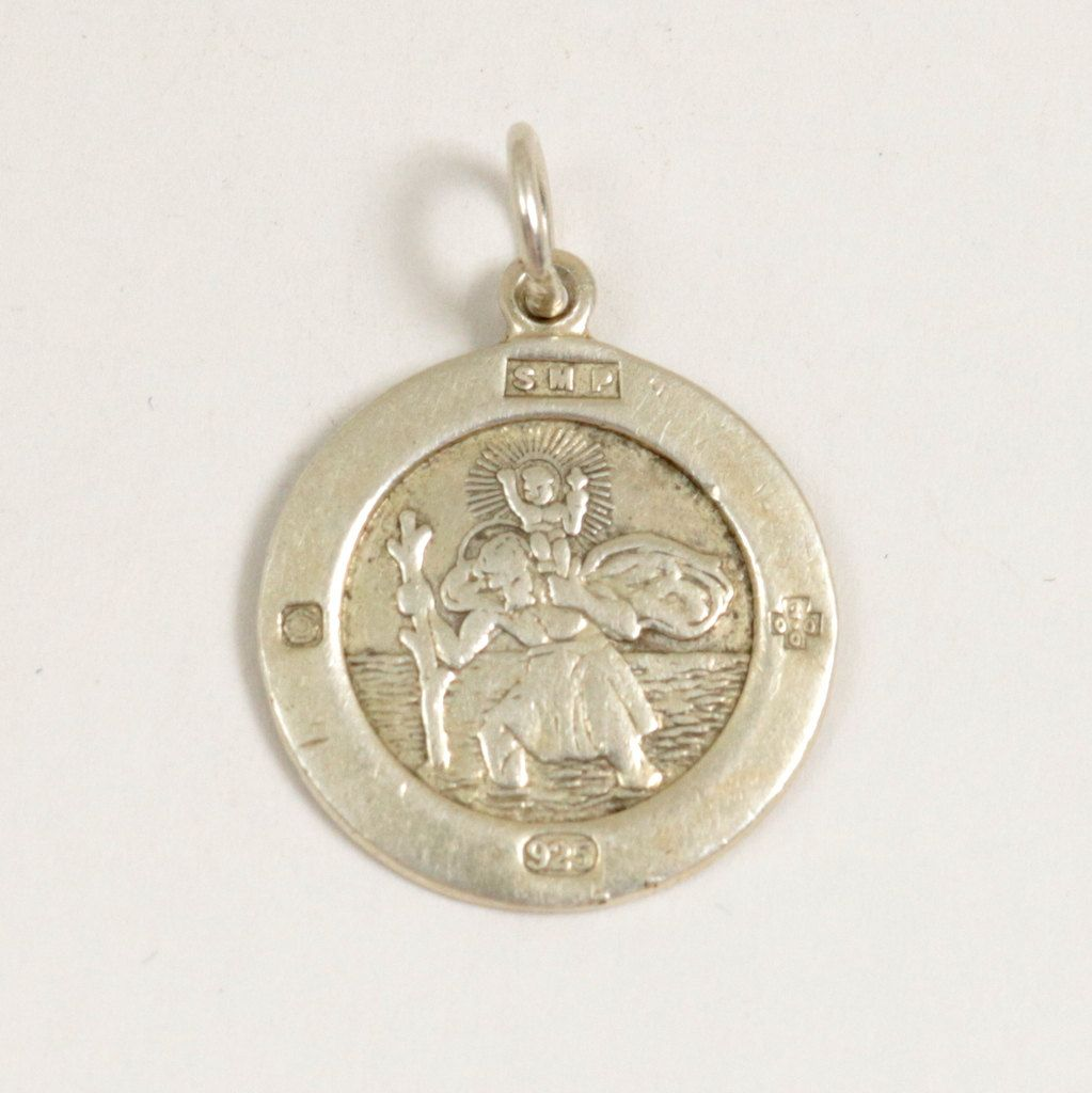 product anything sterling babyanything medallion baby necklaces christopher silver saint