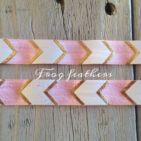 "PINK WHITE and GOLD Large Chevron Elastic 5/8""- 5 yards"