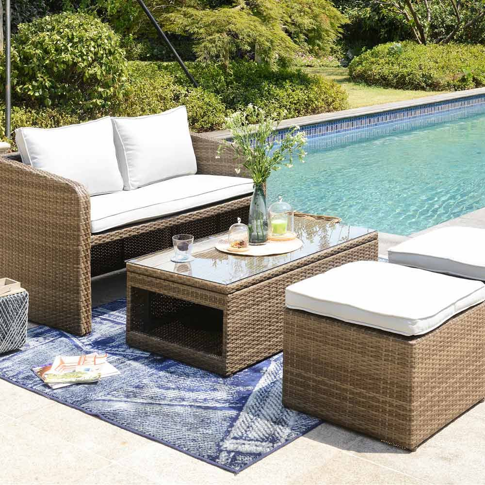 Buy Luxo Nevis 4 Seater PE Wicker Outdoor Furniture Set - Brown Online  Australia - Buy Luxo Nevis 4 Seater PE Wicker Outdoor Furniture Set - Brown