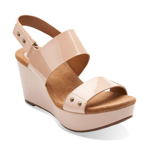 Womens Sandals Clarks Caslynn Dez Nude Patent Leather