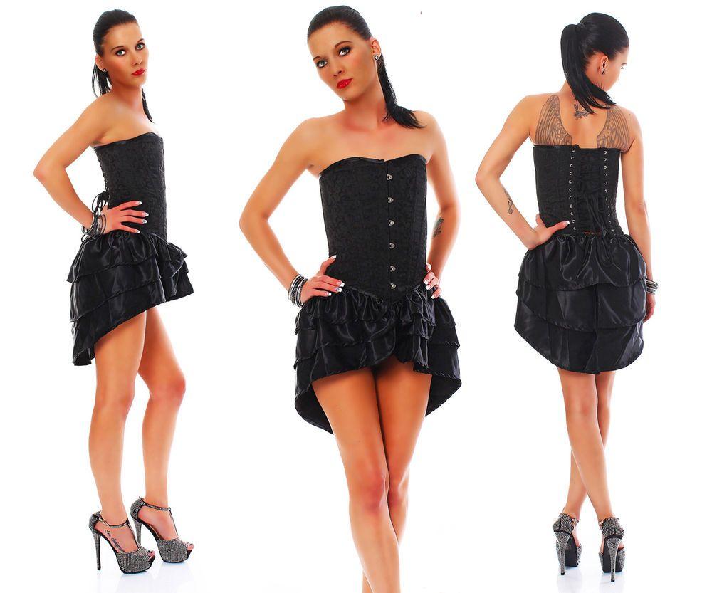 Corsagekleid Brokat schwarz Corsage Kleid Petticoat Metallstäbe kurz alle Größen