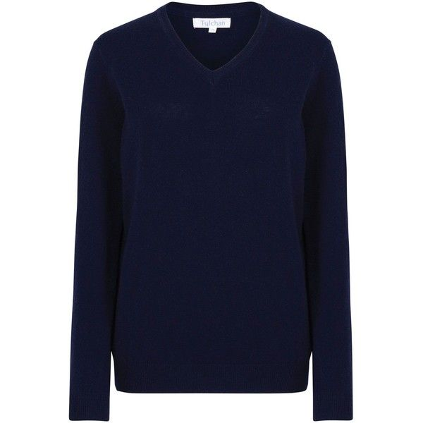 Tulchan Luxury V-Neck Jumper (2.965 RUB) ❤ liked on Polyvore featuring tops, sweaters, clearance, navy, blue top, blue v neck sweater, blue sweater, v-neck sweater and navy blue v neck sweater