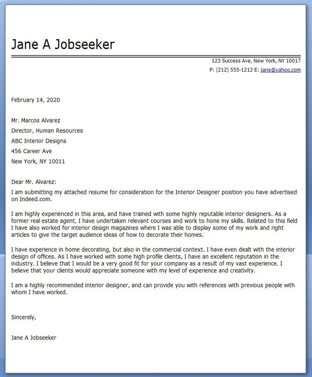 Interior Design Cover Letter Examples
