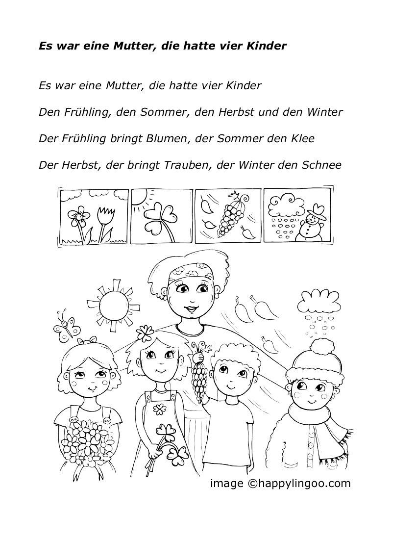 Es war eine Mutter die hatte 4 Kinder | Verschiddenes | Pinterest ...
