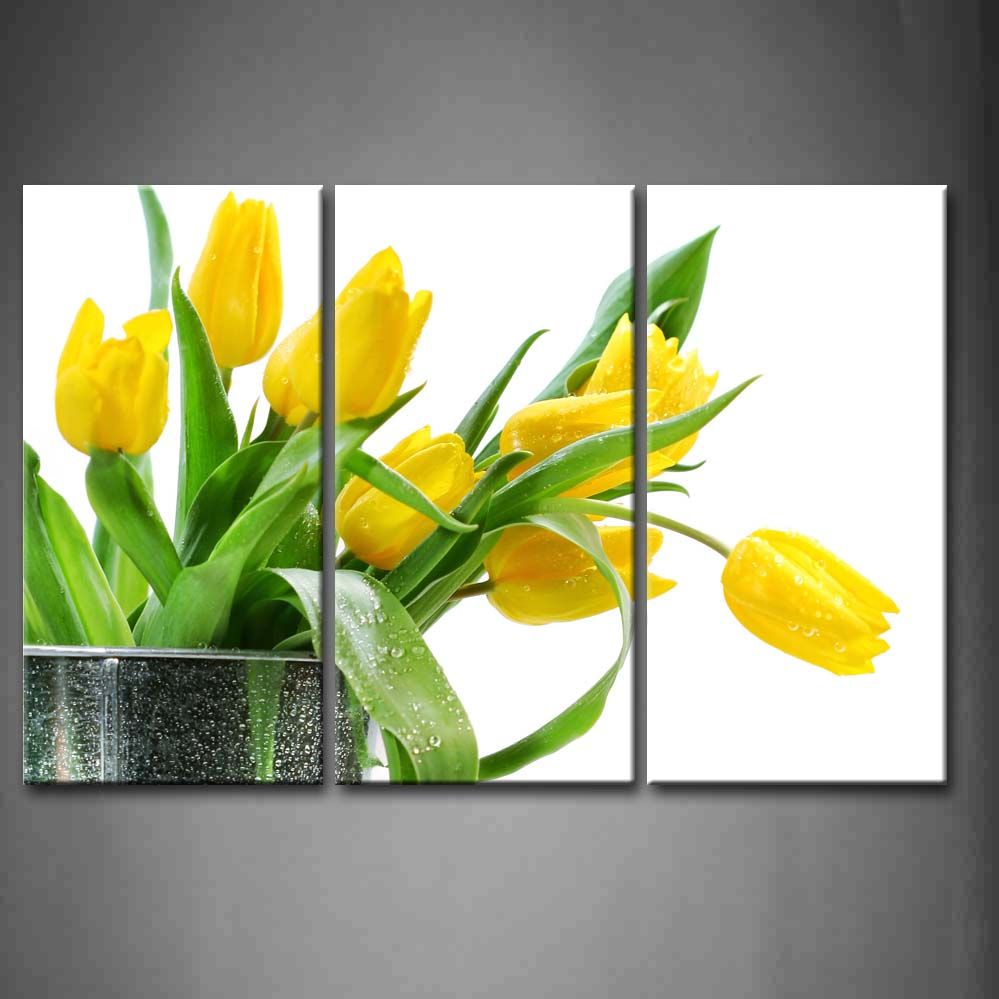 3 Panel Wall Art Green Spring Flowers Yellow Tulip Painting Pictures ...
