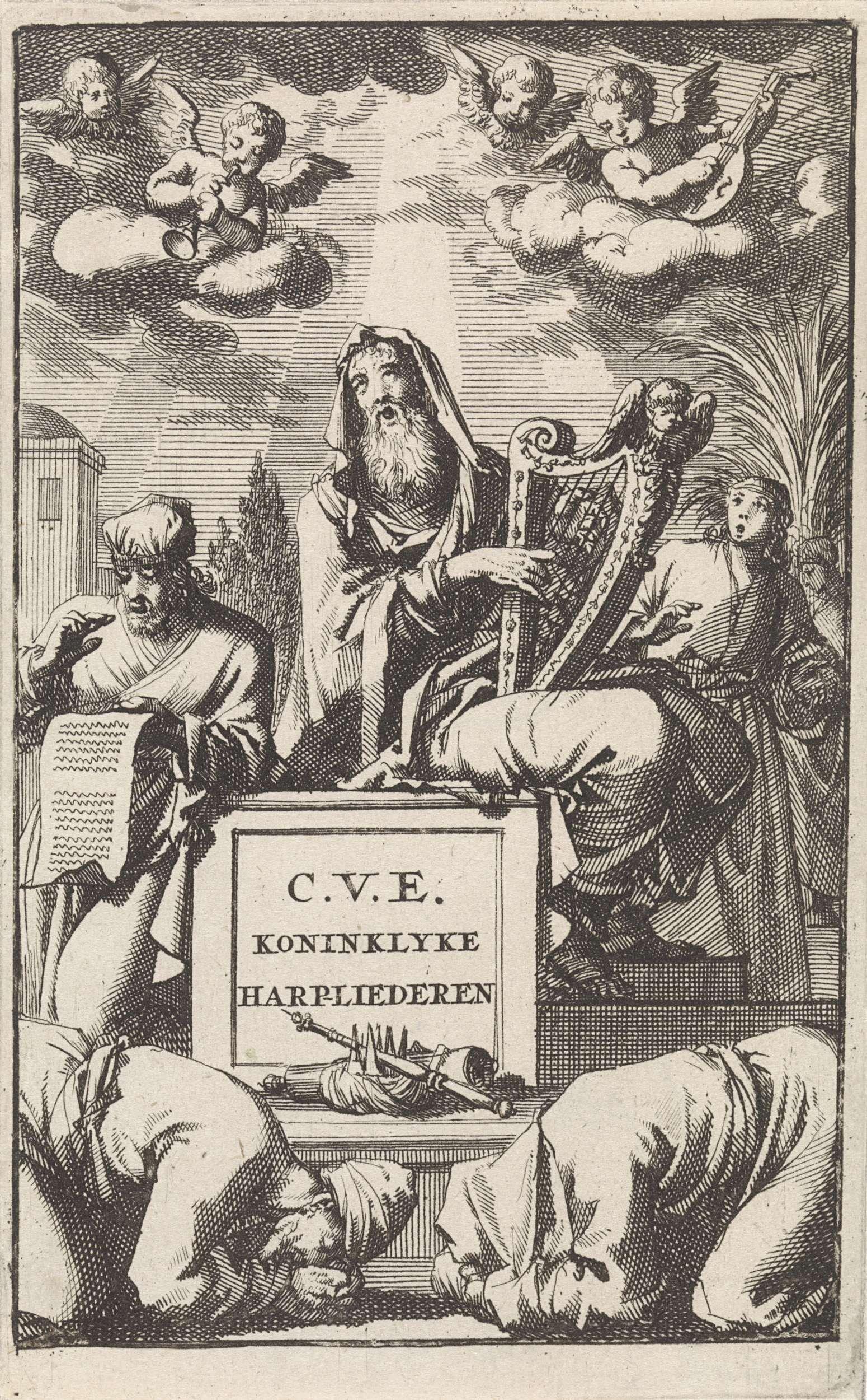 Jan Luyken   David speelt op zijn harp, Jan Luyken, Cornelis van Hogenhuysen, 1698   David speelt op zijn harp in het bijzijn van een jongeling en een priester. Voor hem op de grond liggen een kroon, boekrol en scepter. In de lucht twee cherubijnen en twee muziekmakende engelen. Op de voorgrond twee diepgebogen mannen.
