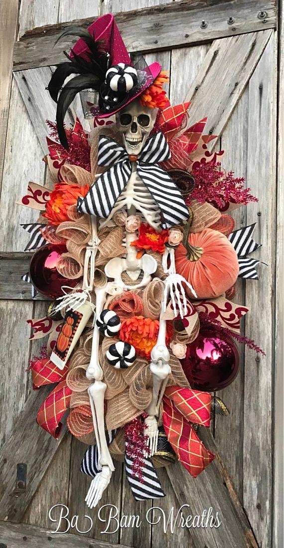 Halloween Swag, Skeleton Wreath, Skeleton Decor, Halloween ...