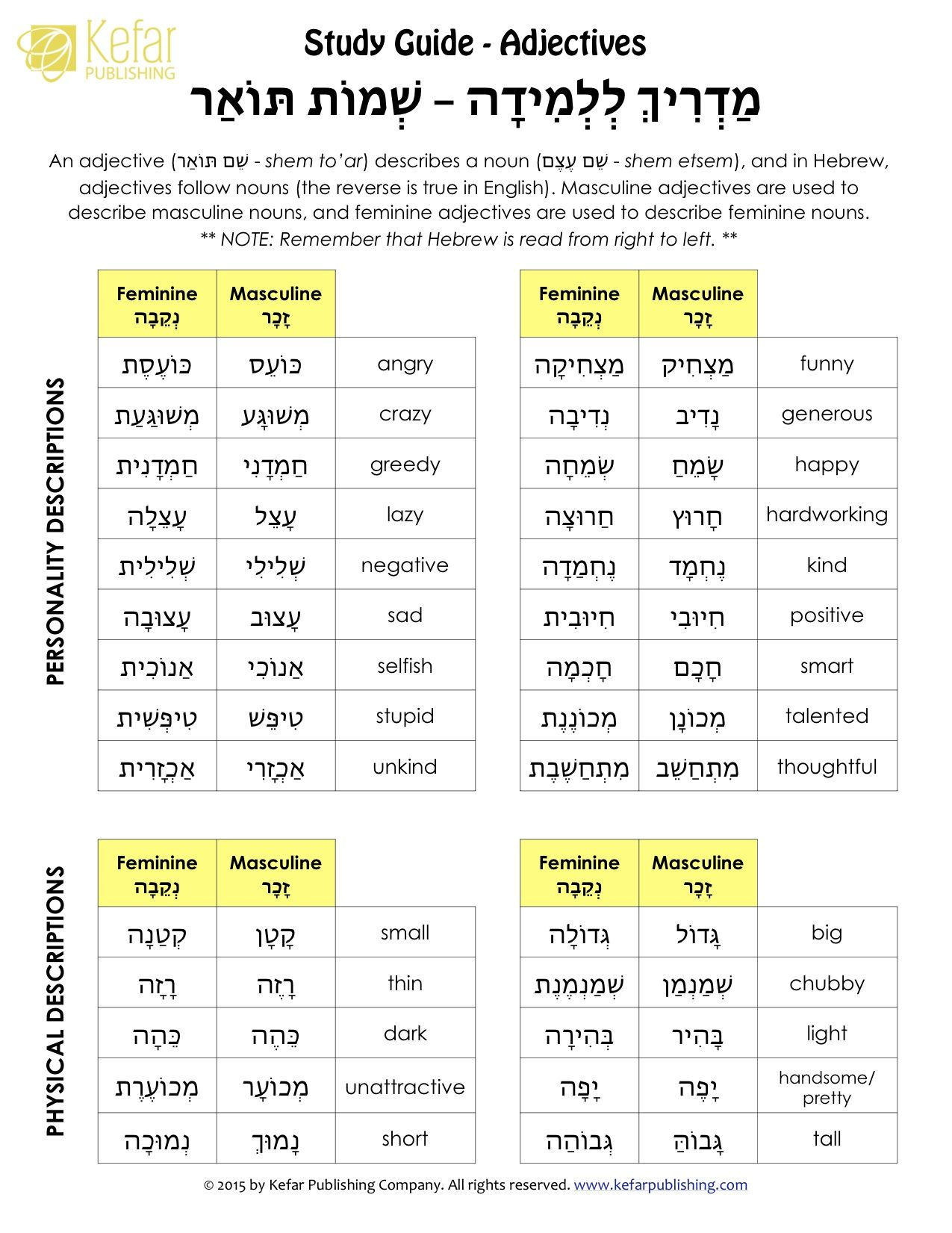 Hebrew Adjectives Study Guide Lots Of Hebrew Worksheets