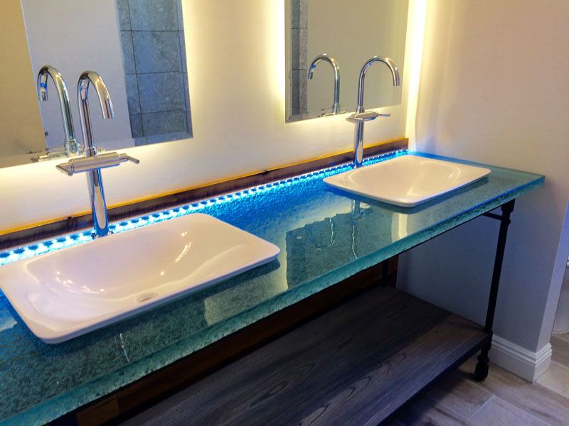 Bathroom Glass Countertop Shown With, Glass Vanity Tops For Bathrooms