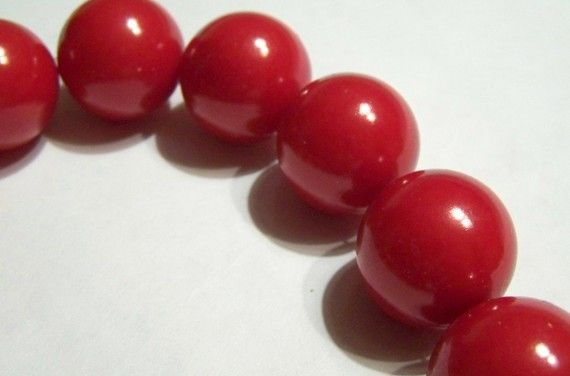 Large Cherry Red Acrylic Pearls via Etsy