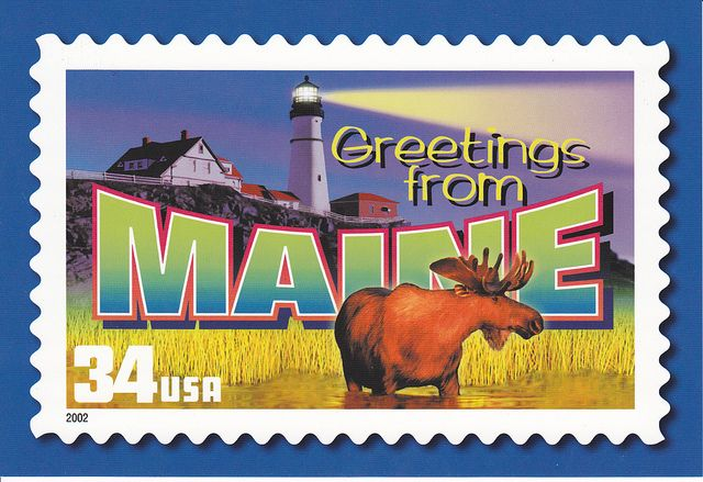 Usps Greetings From Maine Postcard Commemorative Stamps Usa